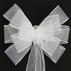 White Sheer Wedding Pew Bows Church Aisle by PackagePerfectBows