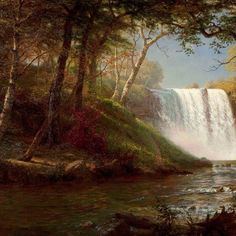 Albert Bierstadt, Minnehaha Falls (sd). Olio su tela 108,3 × 134,6 cm, Chrysler Museum of Art.