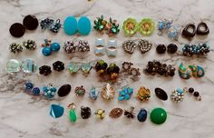 HUGE! VTG Signed Blue Green Rhinestone Bead Cluster Craft Earring Lot, 23 Pairs+