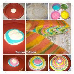 Gâteau marbré rainbow, arc en ciel
