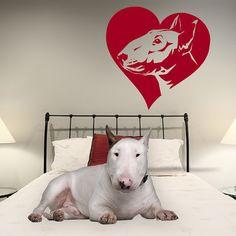 Dog Wall Decal Bull Terrier Love Bully Vinyl Sticker by PSIAKREW