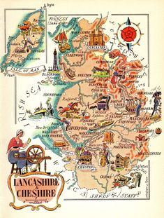 Animated ENGLAND Map Print Lancashire & Cheshire England Picture Map Honeymoon Gift for Anniversary Wedding Vacation lizmap by OnTheWallPrints on Etsy Vintage Maps, Antique Maps, Vintage Travel Posters, Cheshire England, England Map, World Map Decor, Happy Anniversary Wishes, Pictorial Maps, Honeymoon Gifts