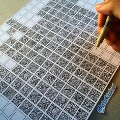 Zentangle squares After making pages in a journal, fill in mini copies of each pg in these squares. Could do it with triangles! Doodle Box, Tangle Doodle, Zen Doodle, Zentangle Drawings, Doodles Zentangles, Doodle Drawings, Doodle Patterns, Zentangle Patterns, Cool Patterns To Draw