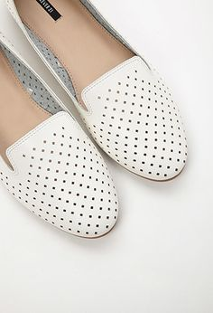 Perforated Faux Leather Loafers   Forever 21 - 2000053894