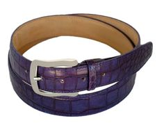 Calfskin woman's belt with crocodile print PECOB53