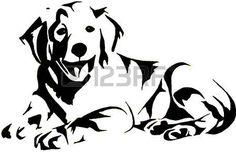 labrador silhouette: Goldene Retrievel Illustration