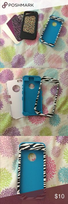 iPhone 5/5S/SE Phone Case Bundle Two iPhone 5/5S/SE phone cases. One soft blue case with a zebra print hard case to cover it, and one impactGEL customizable phone case. ImpactGEL case comes with three interchangeable patterns, and a template to customize your own! The photo or pattern sits comfortably in the window, the gel sits over it, pop your phone in the case and VOILA! Your very own customized phone case! Both very gently used! Accessories Phone Cases