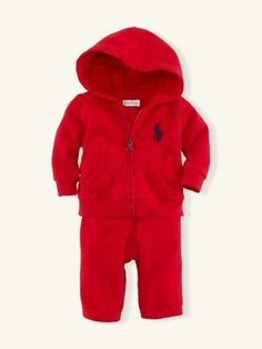 I wonder if they have this in girls - NWT Ralph Lauren Polo Children Kids Infant Boys Clothes Red Sweat Pant Set 3Mo