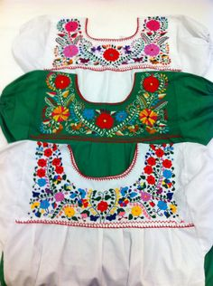 Frida Style Mexican Hand Embroidered Peasant by RanchoAlpino