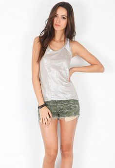 Generation Love Nicki Metallic Linen Raglan Tank in White/Silver