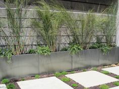 Exterior. Gray Colors Of Concrete Planter Boxes Have Long Rectangular Shape With Vertical Line Ornament On Striped Wall And White Stepping. Having Beautiful View In Garden And Front Yard With Concrete Planter Boxes Ideas
