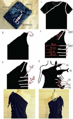 No Sew One Shoulder Shirt – DIY