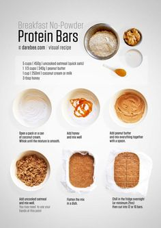 Homemade no-bake breakfast no-powder protein bars//