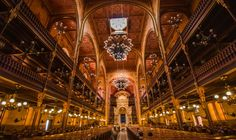 Beautiful interior of the second biggest  synagogue in the world. Dohany synagogue.