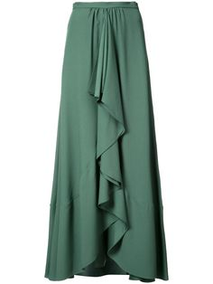 """Green pleated skirt Gathering on front skirt Centre front ruffle feature Invisible back zip closure Cotton Dry clean Made in USA Model shown is 5'10"""" (177cm) and wearing US size 2"""