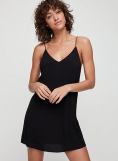This version of Wilfred Free's signature minimal camisole dress is cut from a fluid fabric that drapes beautifully. Tight Dresses, Dresses With Sleeves, Black Bodycon Dress, Crop Blouse, Sheer Chiffon, Latest Dress, Blouse Styles, Vivienne, Flare Dress
