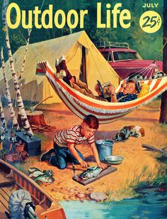 New York Puzzle Company - Outdoor Life At the Campgrounds - 1000 Piece Jigsaw Puzzle: At the Campgrounds - Outdoor Life Cover, originally published on July 1000 Piece Jigsaw Puzzle. Finished Puzzle Size: Made in the USA. Outdoor Life Magazine, Renaissance, Art History Memes, Life Cover, Tom Selleck, Jesus, Vintage Fishing, Go Camping, Retro Camping