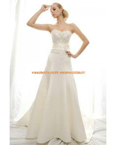 Elegante Brautkleid A-Linie 2013 aus Satin mit Appliaktion