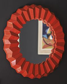"Serena & Lily Mosaic Mirror in Poppy 29""DIAM x 3""D overall, $495"
