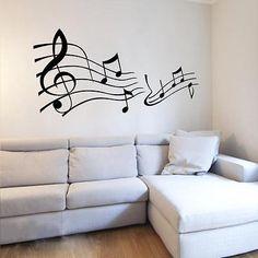 Moda gran patrón de Nota Musical Decoración Mural Arte Pared Adhesivo Calcomanía Hogar