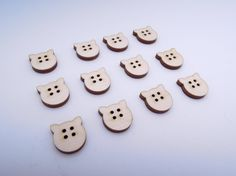 Wooden Pig Buttons for Crafts - Laser Cut by AndedSupplies on Etsy