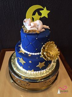 Moon and stars baby shower cake. Navy and gold. annacakes.com