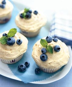 Photo By: Mark Thomas, Bon Appétit Cookout Desserts ‹ previous 32 OF 33 next › Blueberry Hill Cupcakes Baking Cupcakes, Cupcake Recipes, Cheesecake Cupcakes, Cupcake Cakes, Dessert Recipes, Dessert Healthy, Fruit Recipes, Blueberry Cupcakes, Blueberry Recipes