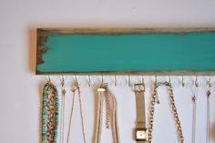Jewelry Hanger Distressed Turquoise / Necklace Organizer / Accessories Wall Hanging / Necklace Rack / Womens Gift / Rustic by LeLeeDesign on Etsy https://www.etsy.com/listing/246847696/jewelry-hanger-distressed-turquoise