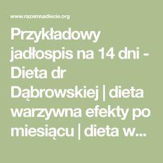 Przykładowy jadłospis na 14 dni - Dieta dr Dąbrowskiej | dieta warzywna efekty po miesiącu | dieta warzywno owocowa | oczyszczająca dieta