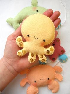 PDF pattern - Four cute sea creatures - octopus, whale, starfish and crab - DIY felt ornaments, baby crib mobile super kawaii little folk Fabric Crafts, Sewing Crafts, Sewing Projects, Craft Projects, Craft Ideas, Felt Projects, Baby Crafts, Crafts For Kids, Felt Crafts Diy
