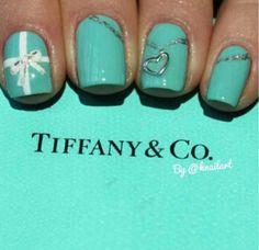 another version of the Tiffany nails - Tiffany and Co. Nails by knailart So Nails, How To Do Nails, Cute Nails, Pretty Nails, Hair And Nails, Gorgeous Nails, Aqua Nails, Perfect Nails, Fantastic Nails