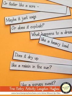 """This free download is a fun unscramble-the-poem activity with Langston Hughes's poem """"Harlem"""" (Dream Deferred) that will get students thinking about the meaning of the lines and the organization of the poem. -- from Mixed-Up Files (FREE)"""