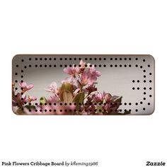 Pink Flowers Cribbage Board