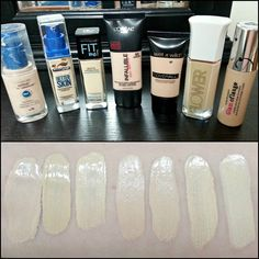 Swatch comparison of pale foundations from the drugstore