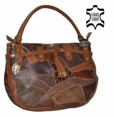 Echt-Leder Patchwork Bernardo Bossi hellbraun #tasche #mode #trend #bag #handtasche #b2b #großhandel