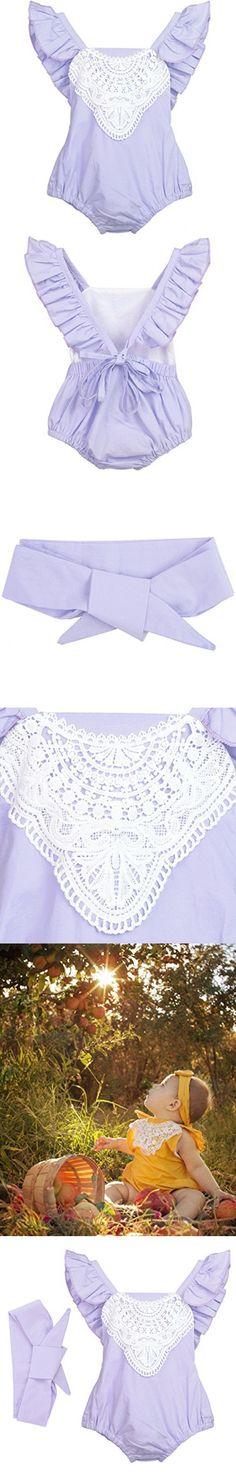 Ephex Newborn Baby Girls Romper Sunsuit Jumpsuit with Headband 6M-24M
