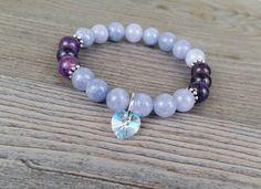 Bracelet pierres fines angelite et agate veine dragon mauve - coeur cristal swarowski de la boutique BijouxDesignselect sur Etsy