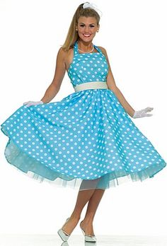 Summer Daze Costume - Those summer nights will be as HOT as the summer days! Summer Daze Costume - Adult Costume includes a blue and white polka-dot dress with a square halter 50s Halloween Costumes, Halloween Dress, Adult Costumes, Costumes For Women, Adult Halloween, 1950s Costumes, Party Costumes, Retro Halloween, Halloween Party