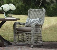 The hand-woven synthetic wicker of Moraya Bay by Lane Venture offers an open weave for a warm, inviting appeal and is topped off with a neutral Oyster finish. Patio Furniture Cushions, Outdoor Cushions, Outdoor Fabric, Outdoor Furniture Sets, Outdoor Decor, Rattan, Wicker, Replacement Cushions, Furniture Repair