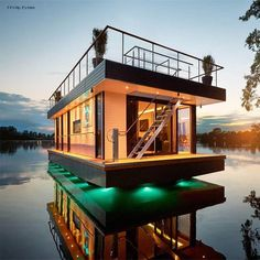 Eco-Friendly High-End Living That Floats: Rev House Houseboats. - See more at: www.ifitshipitshe... #containerhome #shippingcontainer