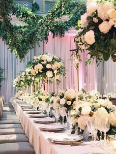 Glamorous wedding reception tablescape with tall and short centerpieces Glamorous Wedding, Elegant Wedding, Floral Wedding, Wedding Flowers, Gold Wedding, Short Centerpieces, White Floral Centerpieces, Centerpiece Ideas, Garden Wedding