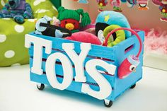 Jingle & Jolly Rolling Wood Toy Box