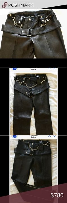 DOLCE & GABBANA FETISH S&M ZIP BUCKLE LEATHER PANT DOLCE AND GABBANA DESERVED AND DESIRED FETISH S&M, ZIP BUCKLE BLACK LEATHER TROUSERS SZ-Technically 8 fits like a 6. NEVER WORN! Purchased in St.Moritz. Paid over $6,000.  OOPS KEPT GETTING PREGNANT. YOU CAN'T BE MISSED.....GORGEOUS Dolce & Gabbana Pants Trousers