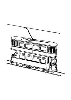 Coloriage d'un tramway circulant sur les voies ferrées