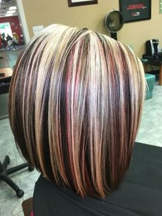 Image result for dark blonde hair with red and silver highlights