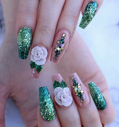 green and nude rose nails Best Acrylic Nails, Acrylic Nail Art, 3d Nail Art, Art 3d, Fancy Nails, Bling Nails, 3d Nails, Pastel Nails, Stiletto Nails