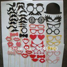 conjunto 1 50 pcs photo booth apoyos bigote gafas máscara de labios tubo de palo en la fiesta de bodas de cumpleaños diversión