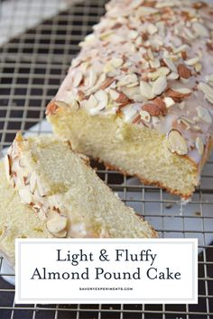 Almond Pound Cake (Moist & Buttery + Tips for Perfect Cake Every Time!) - This Almond Pound Cake recipe is easy, moist and as dense as a pound cake should be. Topped with an almond pound cake glaze, it's the perfect dessert! Pound Cake Glaze, Glaze For Cake, Almond Pound Cakes, Pound Cake Recipes, Loaf Recipes, Yummy Recipes, Healthy Recipes, Mini Cakes, Sweets