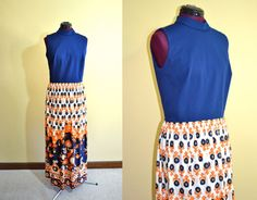 1960s Vintage Joan Curtis Maxi Dress in Navy by TabbysVintageShop, $30.95
