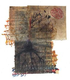 teabags with phototransfer, print on book page, plastic net, embroidery, wax  Teebeutel mit Baum: Fototransfer auf  Teebeutel, Druck auf Buchseite, Plastiknetz, Garn, Wachs